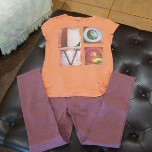 Girls pants and shirt size L 10/12